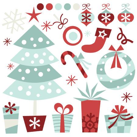 A retro inspired quirky christmas clip arts stock vector illustration. Illustration