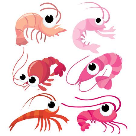 A set of six different cute cartoon vector shrimps vector illustration. Ilustracja