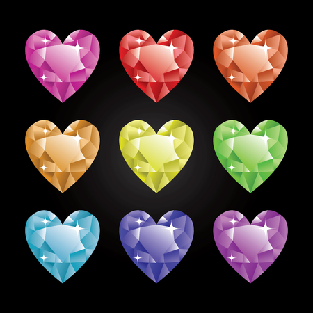 refraction: A vector illustration set of nine different colored heart shaped diamonds.