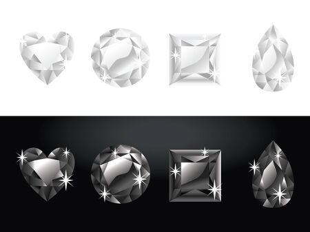 A vector illustration set of black and white diamonds in four different gemstone shape. Vector