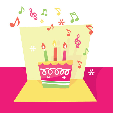 pop up: A vector illustration of a cute whimsical and vibrant musical pop up birthday card.