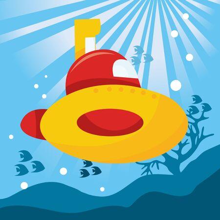 ocean cartoon: A cute cartoon vector  illustration of a yellow submarine underwater.