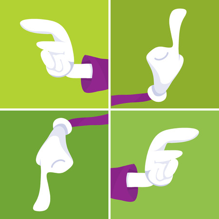 up and down: Cartoon vector illustration of hands pointing in four different direction such as left, up, down, right.
