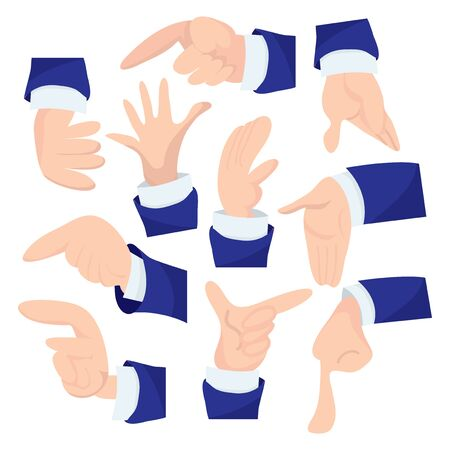 wrist cuffs: A vector illustration set of different business hand gestures like pointing, presenting and holding objects. Illustration