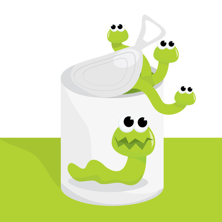 mischief: A cartoon vector illustration of opening a can of worms.