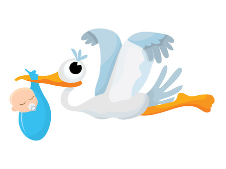 A cartoon vector illustration of a stork delivering a baby boy.