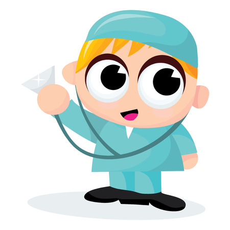 cute blonde: A cartoon vector illustration of a cute blonde male doctor. Illustration