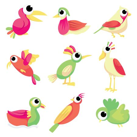 A vector illustration collection of cute cartoon birds in different species. Vector