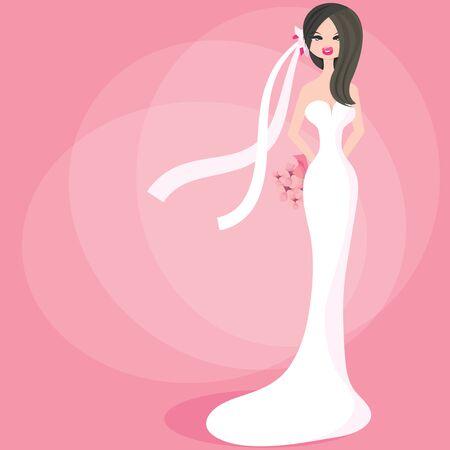 blushing: A cute stylized blushing bride vector illustration. Illustration