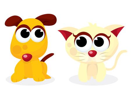 tame: A cartoon vector illustration of cute cartoon puppy and kitten.