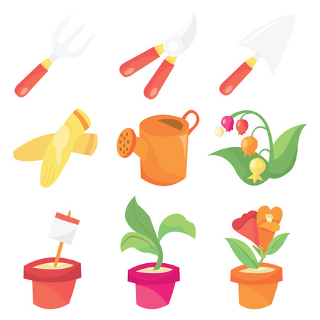 gardening tools: A vector illustration set of gardening related images like gardening tools, flowers and plants.