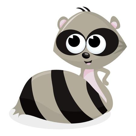 A cartoon vector illustration of a cute raccoon. Vector