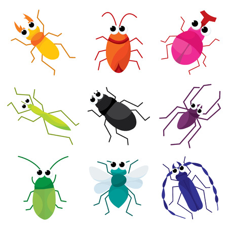 crawlers: A set of nine colorful cartoon insects vector illustration. Illustration