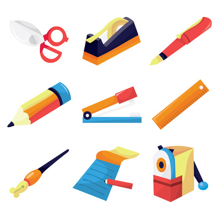staplers: A vector illustration of different types of stationery like scissor, writing tools to notepad.