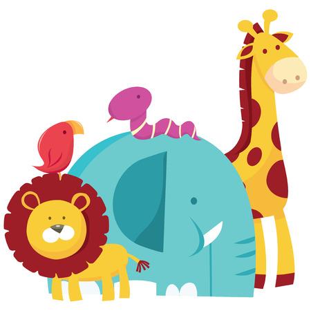 Vector animals: Một minh họa vector hoạt hình của một nhóm động vật safari.