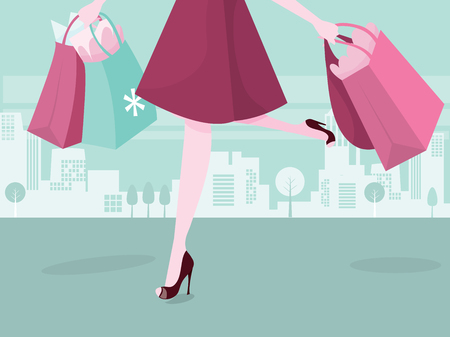 nude outdoors: A vector illustration of a female shopper carrying shopping bags in the city.