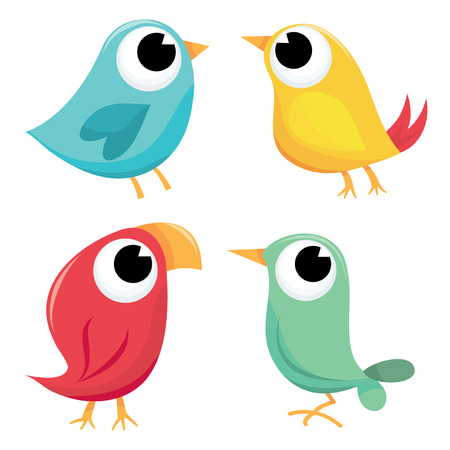 tame: A cartoon vector illustration of four colorful little tweety birds.