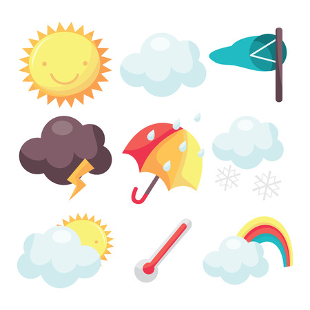 partly: A cartoon vector illustration set of nine different weather related icons.