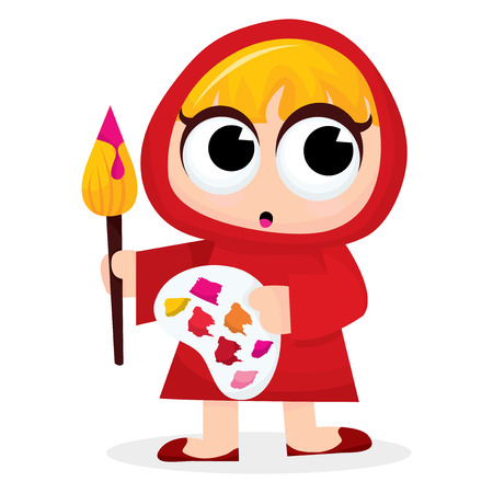 paint palette: A cute cartoon artist girl with big paint brush and paint palette illustration. Illustration