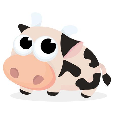 animal themes: A cartoon vector illustration of cute milk cow. Illustration