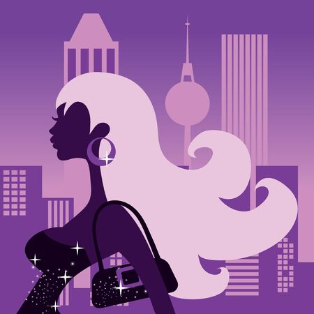 A stylized silhouette girl going out at night, partying and clubbing.