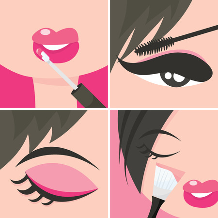 adolescence: A set of four popart about applying makeup or cosmetics vector illustration.