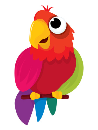 Cute little multi-color parrot cartoon vector illustration.