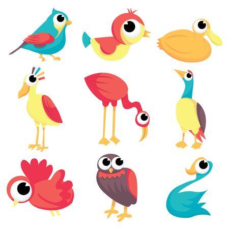 A set of different cartoon birds stock vector illustration. Imagens - 39949041