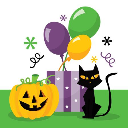 trick or treat: A vector illustration halloween treat or trick party bag with halloween sweets and treats. Illustration