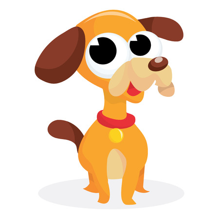 beagle puppy: Un beagle cachorro de dibujos animados vector de la ilustraci�n obediente mirando y lindo. Vectores