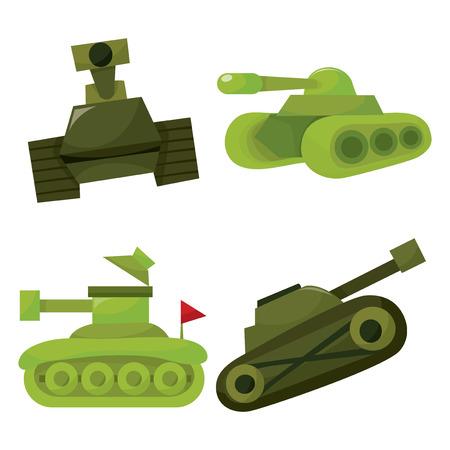 batallón: Un conjunto de ilustración vectorial de cuatro de dibujos animados de los tanques militares.