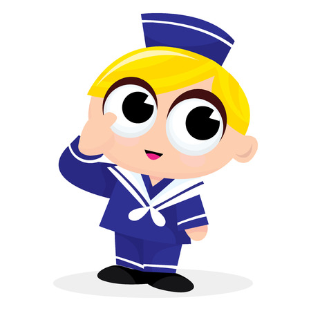 cute blonde: A cartoon vector illustration of a cute blonde sailor boy. Illustration