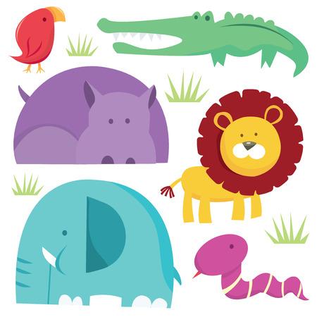 A vector illustration of a group of cartoon safari animals.