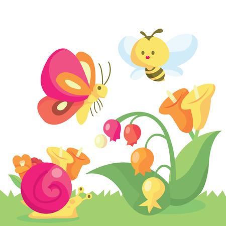 Een cartoon vector illustratie van een leuke lieve kleine tuin en zijn bewoners.