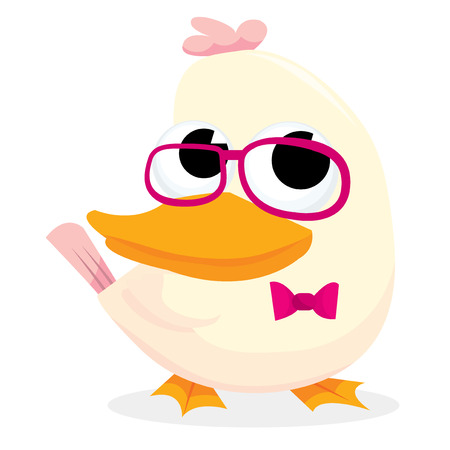 geeky: A cartoon vector illustration of a cute geeky duck.