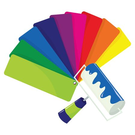 paint roller: A paint roller with some blue paint and color swatch vector stock illustration.