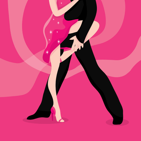 tangoing: A vector illustration of a latin dance between a girl and guy.