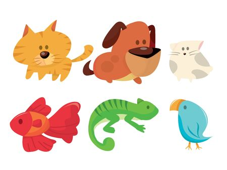 A cartoon vector illustration of six different house pets. Vector