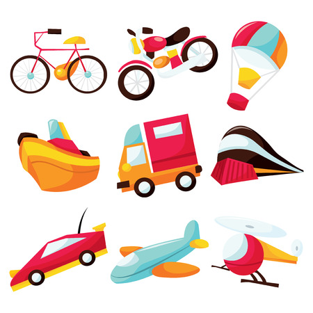 water transportation: A cartoon vector illustration icon set of different various types of transportation from land vehicle to air vehicle.