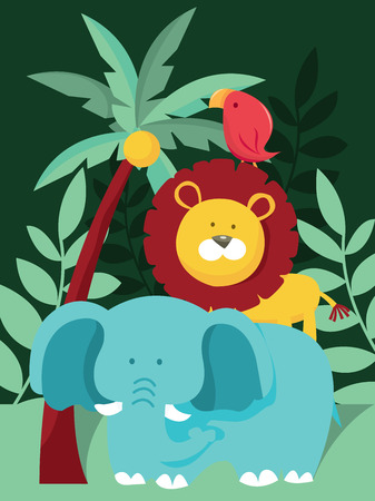 animal themes: A cartoon vector illustration of typical jungle with wild animals like elephant, lion and bird. Illustration