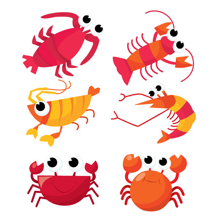 A cartoon vector illustration of a set of six cute crustacean: shrimps, crabs and lobster.