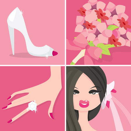 A set of four different illustration of wedding related vector illustration.