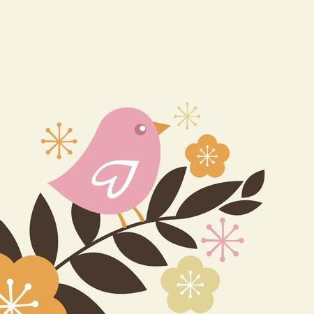 cherry blossom tree: A cute pink bird on cherry blossom tree stock vector illustration.