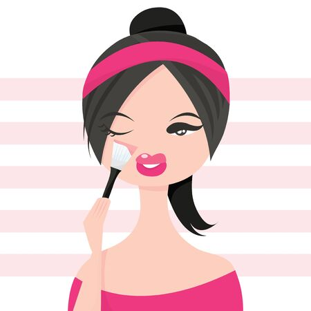 blush: A cute girl applying makeup with a blush brush vector illustration.