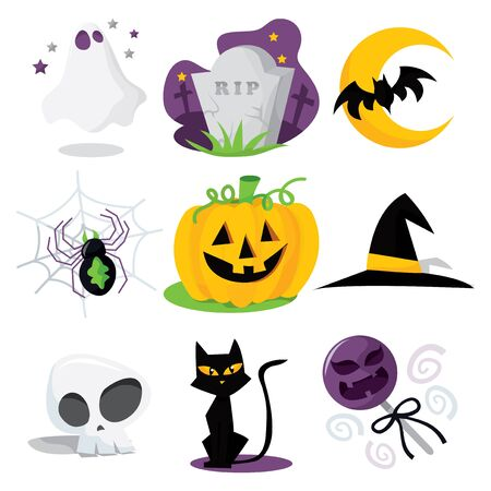 A cartoon vector illustration of nine different halloween related clip arts.