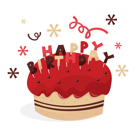 A vector illustration of a birthday cake with strawberry toppings and birthday greeting. Vector