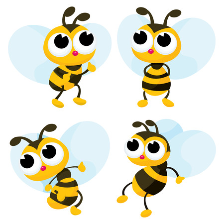 A set of four cute honey bee cartoon vector illustration.