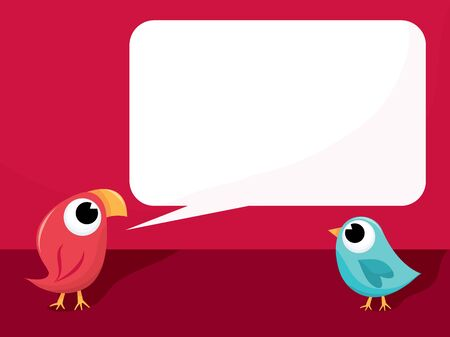 telling: A cartoon vector illustration of a cute red bird telling another bird something. Illustration