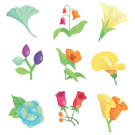 화려하고 귀여운 봄 꽃 믹스 세트 벡터 일러스트 레이 션.
