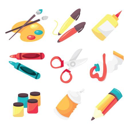 marker pen: A vector illustration icon set of art supplies like paintbrush, paint pallet, marker pen, glue, crayon, scissor, paint tube, paint, aerosal paint and pencil.
